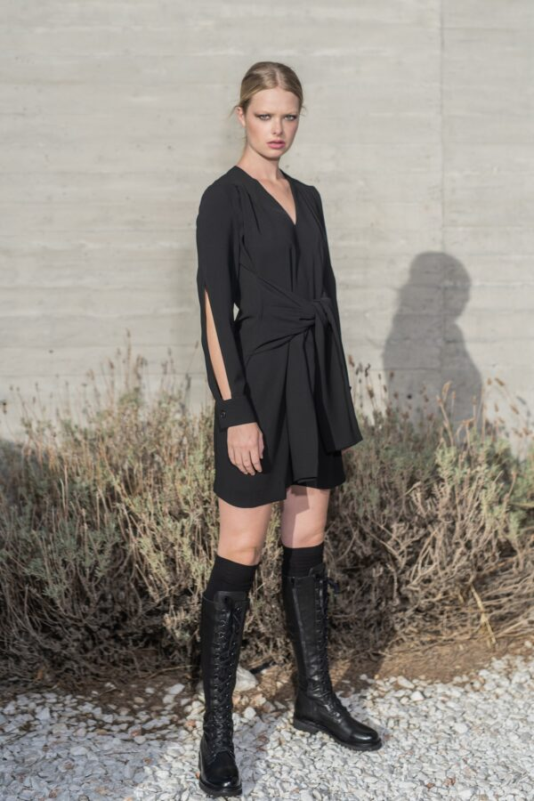 The Line Project mini dress sleeve wrap in the waist and cut in the sleeves