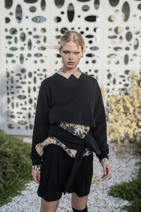 the_line_project_blouse with sleeve wrap in the front